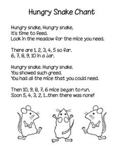 Hungry Snake Chant to go with book, Mouse Count by Ellen Stoll Walsh