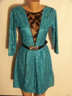 Бирюзовое гипюровое платье с поясом ТМ Вика (М или 42-44 украинский)