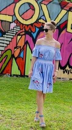 This off the shoulder chambray dress, with pretty embroidery detail is a favourite. It is comfortable and easy to wear. It also looks cute with sneakers.  #letstalktrend #embroidery #ss17 #fashionblogger #blogger #fashion