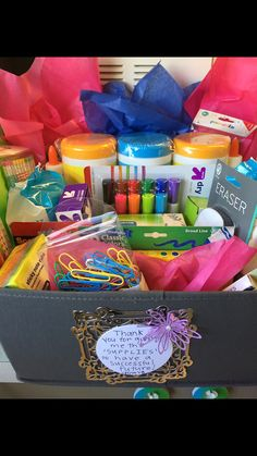 "Student Teacher gift to their cooperating teacher: ""Thank you for giving me the 'supplies' to have a successful future!"""