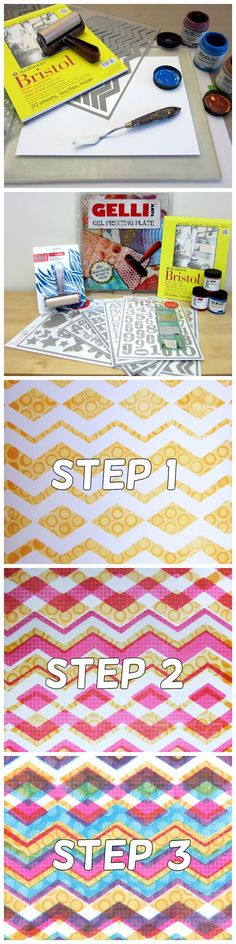 Gelli Printing Tutorial - Gelli™ Printing: Patterns with Peel-Away Masks Create amazing patterns in your Gelli prints by printing layers with re-positionable, reusable, peel-away chevron masks! Watch this video and see how easy it is to print an intentional and complex layered pattern using peel-away masks from Hazel and Ruby!