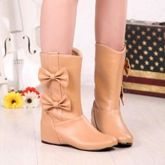 New Women Apricot Round Toe Flat Within The Higher Bow Casual Boots