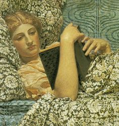 RED BERRIES (detail) by Albert Joseph Moore (Painter. Reclining woman reading a book Reading Art, Woman Reading, Reading Books, People Reading, Pre Raphaelite, Lectures, Red Berries, Oeuvre D'art, Love Art