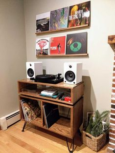 Record Table And Shelves For My New Vinyl Setup : Woodworking on Home Shelves Ideas 9590 Record Table, Vinyl Record Display, Vinyl Record Storage, Vinyl Record Cabinet, Record Player Table, Record Shelf, Record Stand, Vinyl Record Player, Vinyl Records