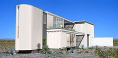 First Shipping Container House in Mojave Desert by Ecotech Design. Container houses are here taken to another level. If so far we've seen homes made in less professional manner, Ecotech Design introduces their version of a shipping container house. Container Home Designs, Container Homes For Sale, Cargo Container Homes, Container Cabin, Storage Container Homes, Container Buildings, Container Architecture, Container House Plans, Shipping Container Homes