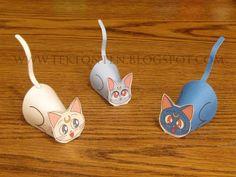 Tektonten Papercraft - Free Papercraft, Paper Models and Paper Toys: Paper Sailor Moon Cat Toys Sailor Moon Birthday, Sailor Moon Party, Sailor Moon Crafts, Paper Dolls Printable, Geek Crafts, Animal Crafts, Paper Models, Crafty Craft, Paper Toys