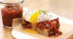 Rosemary Smoked Tomato Jam with Poached Egg: Perfect for using abundant homegrown or farm-stand tomatoes. Make this jam by chargrilling the tomatoes, sweet onion and chile first, then simmer with rosemary, brown sugar and cider vinegar. The result is a tart-sweet spicy condiment for sandwiches, burgers and grilled meats.