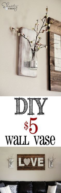 DIY Bottle Wall Vase... So cheap and EASY!!!Of course I would paint the wood, or clips, or both!