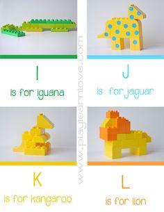lego animal alphabet cards I - L