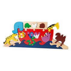 @WorldCrafts {Noah's Ark Wooden Puzzle ~Gospel House Handicrafts ~ Sri Lanka} This wooden puzzle is perfect for teaching children animals and depicting the story of Noah and the ark! Enjoy color and fun with this unique toy. #fairtrade