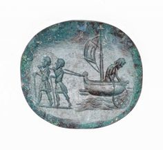 Gem with fishing scene.  Roman 3rd–4th century A.D. Green jasper.   © 2015 Museum of Fine Arts, Boston. CLICK to enlarge