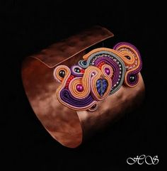 Soutache on copper cuff.
