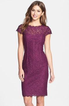 Free shipping and returns on Adrianna Papell Seam Detail Lace Cocktail Dress at Nordstrom.com. Corsetry-inspired seam detailing sculpts a shapely silhouette for a richly hued lace cocktail dress topped with dainty cap sleeves and finished with scalloped edges for romantic appeal. A back V-neckline heightens the allure.