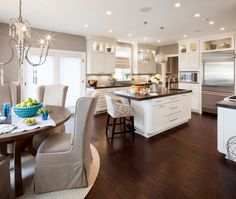 white kitchen cabinets with dark wood floors | Kitchen: white cabinets, dark counters, dark wood floors. | Dream Home