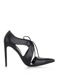 Balenciaga   Sleek Seductive Black Leather Lace-up Point-toe Pumps   MATCHESFASHION.COM