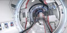 Breakdown of SciFi Cylinder tunnel. - Polycount Forum Spaceship Interior, Futuristic Interior, Futuristic City, Futuristic Design, Sci Fi Environment, Environment Design, Sci Fi Games, Exploration, Space Interiors