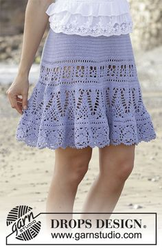 Queensland Skirt - Skirt with lace pattern, crocheted top down. Size: S - XXXL Piece is crocheted in DROPS Safran. - Free pattern by DROPS Design Skirt Pattern Free, Crochet Skirt Pattern, Crochet Skirts, Crochet Clothes, Tutorial Crochet, Lace Patterns, Knitting Patterns Free, Crochet Patterns, Free Knitting