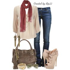 """Beige and Denim"" by dlp22 on Polyvore"