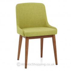 Our Jersey Dining Chair Walnut & Green is a popular design upholstered in fashionable green fabric.