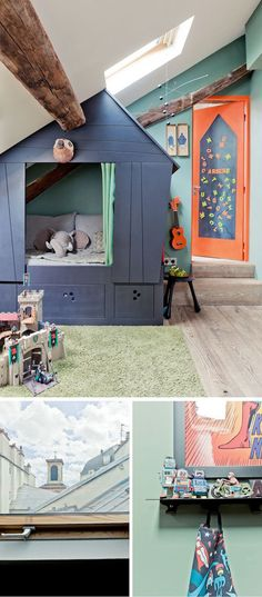 adorable kids room with little play/sleep house; photography by louise desrosiers for milk magazine