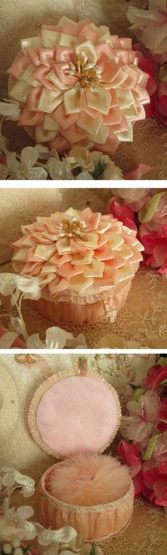 Sweet idea for small trinket, treasure or keepsake box - love the handmade ribbon flower lid! :)