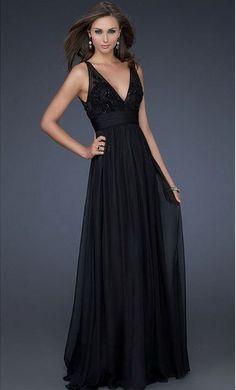 Sexy V-neck long black prom dress with beading