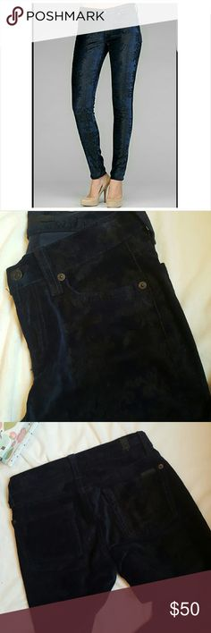 "7FAM Velvet Brocade Skinny Jeans Cover shot makes these look shiny- they're not. They're dark navy blue velvet with black brocade design.  Excellent pre-loved condition. Approx Waist 12 1/2"" Rise 8"" Inseam 27 1/2"" 7 For All Mankind Jeans Skinny"