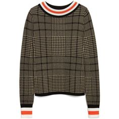 Mulberry Jacqueline Jumper (1.240 BRL) ❤ liked on Polyvore featuring tops, sweaters, black, jumper top, collar top, collared sweater, ribbed top and checkered sweater