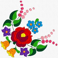 Beautiful Kalocsa Design/ embroidery pattern for sale. Flower Embroidery Designs, Embroidery Applique, Flower Patterns, Embroidery Patterns, Folk Art Flowers, Flower Art, Art Floral, Folklore, Colored Pencil Techniques