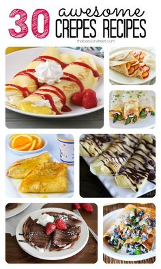Sunday Dinner Ideas Discover 30 Awesome Crepes Recipes - The Benson Street I have always loved crepes. They are a yummy breakfast (or lunch or dinner) idea. They come together nice and easy and can be stuffed with anything. Crepe Recipes, Brunch Recipes, Sweet Recipes, Breakfast Recipes, Pancake Recipes, Breakfast Sandwiches, Waffle Recipes, Crepes And Waffles, Pancakes