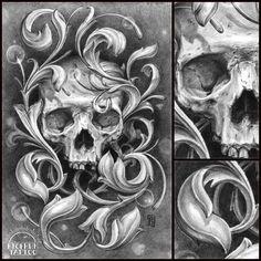 Skull ornament by Maxim Vtornik, via Behance