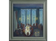 Pirkko Lepistö: Illallinen, 1987, öljy, 55x61 cm - Hagelstam