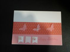 Happy Birthday card with butterflies and a small banner. (Stampin' Up Products) Happy Birthday Cards, Stampin Up, Butterflies, Card Making, Banner, Frame, Products, Decor, Banner Stands
