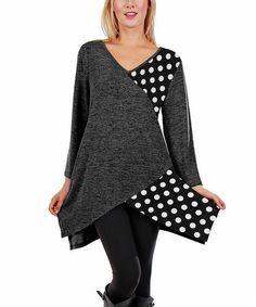Look what I found on #zulily! Deep Gray Polka Dot Asymmetrical Tunic - Plus #zulilyfinds