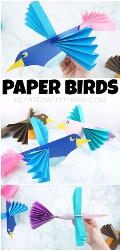 How to Make Colorful Paper Bird Crafts - Fun Paper Crafts for Kids of All Ages! Learn how to make this colorful and easy paper bird craft. - Fun paper crafts for kids of all ages! Simpler bird crafts and spring crafts for kids here too. crafts for kids Animal Crafts For Kids, Spring Crafts For Kids, Toddler Crafts, Preschool Crafts, Paper Animal Crafts, Paper Animals, Preschool Christmas, Christmas Crafts, Easy Arts And Crafts