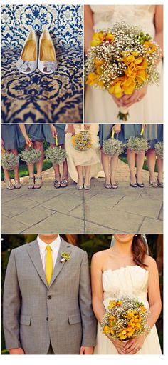 Baby's breath, gray, and yellow. simple bouquets.
