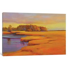 """East Urban Home Autumn Marsh Painting on Wrapped Canvas Size: 12"""" H x 18"""" W x 1.5"""" D"""