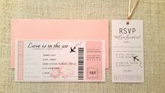 Boarding Pass/Ticket Wedding Invitation with by AimeeClareDesigns