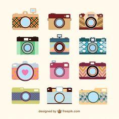 Modelo de conjunto de câmera do vintage                                                                                                                                                                                 Mais