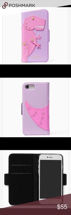 🆕kate spade ♠️ Dino appliqué folio iphone 7 case kate spade ♠️ T-Rex Dino appliqué folio iPhone 7 case.  NIB with plastic wrap still on kate spade Accessories Phone Cases