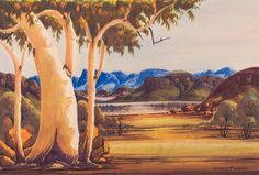 CLAUDE PANNKA (1928-1972) Central Australian Landscape - Price Estimate: $1000 - $1500 Watercolor Landscape, Painting, Art, Art Background, Painting Art, Kunst, Watercolor Landscape Paintings, Paintings, Performing Arts