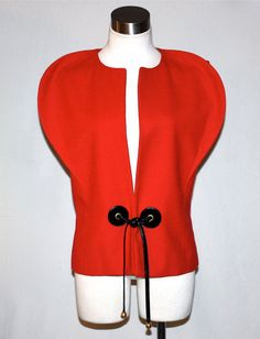 Vintage PIERRE CARDIN Mod Vest Red Wool Patent by StatedStyle, $ 875.00