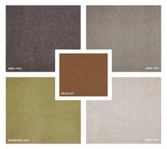 Leather: Pelle 407 Fabrics: Enea 1521 - 1523 - 1528 Velvet: Eldorado 1558