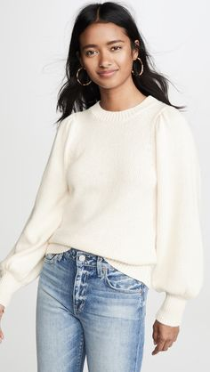 White Puff Sleeve Crew Neck Sweater