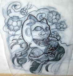 lucky cat   for my next tattoo with our 2 family names in Japanese