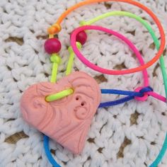 Pink Clay Heart Diffusing Necklace/Air Freshener for Car or Room