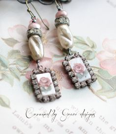 La Petit Rose II vintage assemblage earrings by crownedbygrace