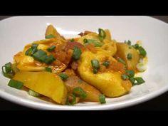 (167) Buday, Otthon - Paprikás krumpli sajttal töltött tésztával - YouTube Chicken, Meat, Food, Red Peppers, Essen, Meals, Yemek, Eten, Cubs