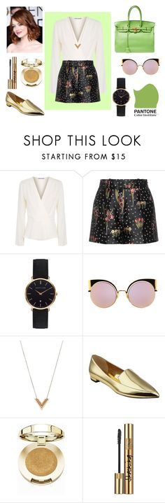 """Greenery and Gold // UNA Y MEDIA BLOGS POST"" by xoxoylne ❤ liked on Polyvore featuring Elizabeth and James, RED Valentino, Abbott Lyon, Fendi, Lanvin, Louis Vuitton, Nine West, Milani and Yves Saint Laurent"