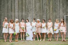 Soft Pastel Bridesmaids Dresses- perfect for a rustic wedding Mismatched Bridesmaid Dresses, Bridesmaids And Groomsmen, Wedding Bridesmaids, Wedding Dresses, Wedding Story, Dream Wedding, Friend Wedding, Wedding Looks, Rustic Wedding